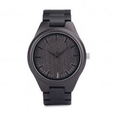 Ceas din lemn Bobo Bird negru cu curea din lemn, H05 Wooden Lux