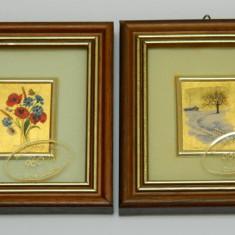 Doua tablouri cu foita de aur