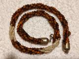 COLIER vintage EXCEPTIONAL siraguri OCHI DE TIGRU si PERLE de CULTURA impletite