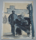 "Eugen Ispir ""Muncitor in portul Hirsova"" tempera"