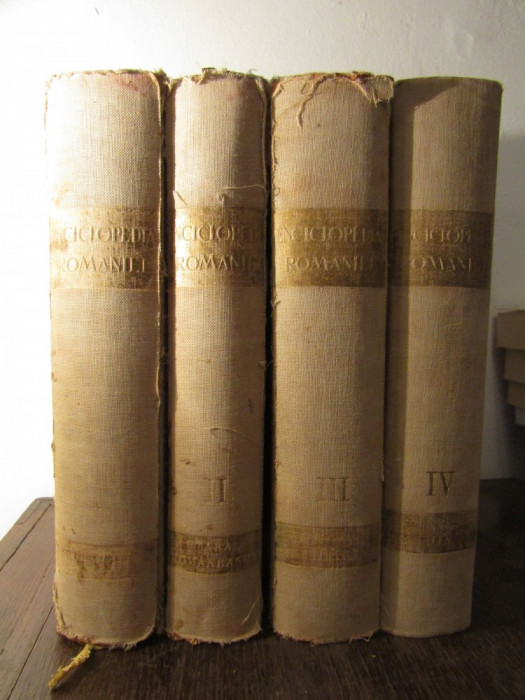 ENCICLOPEDIA ROMANIEI - D.GUSTI , 1938 ( 4 VOLUME,7 PORTETE    )