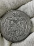 6 stele cu 5 raze, 5 lei 1881 rege