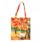 Cumpara ieftin Geanta Textila, Imprimeu Dupa Pictura Unui Peisaj de Toamna, Multicolor