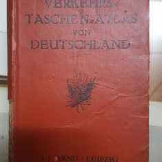 Verkehrs, taschen, atlas von Deutschland, Atlas de buzunar al Germaniei, 1920
