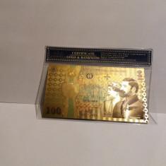 Bancnota 100 LEI 2018 Centenar Unire aur 24k gold certificat folie protectie