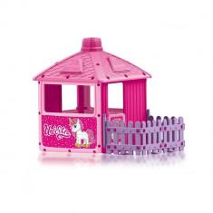 Casuta de joaca cu gard City House Unicorn Dolu
