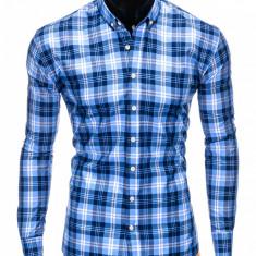 Camasa pentru barbati, albastru, cu model, slim fit, casual, carouri, cu guler - k405