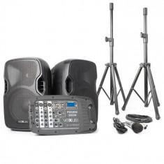 Vexus PSS 302 sistem portabil de sunet PA 300W max. Bluetooth USB SD MP3 2xStativ 1xMi