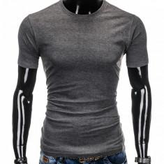 Tricou pentru barbati gri inchis simplu slim fit mulat pe corp bumbac S884