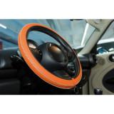 Husa volan Artisan , Handmade, din piele sintetica, diametru 37-39 cm , Culoare Orange Kft Auto