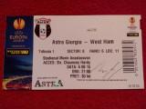 Bilet meci (autograf Slaven Bilić) ASTRA GIURGIU-WEST HAM UNITED(06.08.2015)