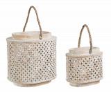 Set 2 felinare decorative din lemn de brad si bambus Intrex Oval Natural, L31xl24xH31 cm / L21xl14xH20 cm