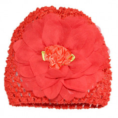 Turban rosu cu trandafir din organza
