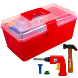 Set trusa cu unelte de jucarie pentru copii,, model cu 26 de accesorii, rosu, 30x16x13,5 cm
