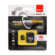 Card memorie IMRO microSD 64GB UHS,Clasa 10 cu adaptor SD