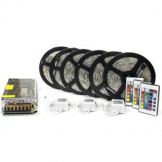 Kit complet 30m banda RGB 60SMD 5050/m telecomanda 24 taste ManiaLight