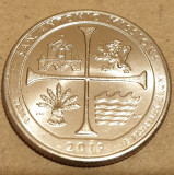 Monedă 25 cents  / quarter 2019 USA, San Antonio Missions, Texas, unc,litera D