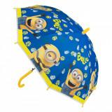Umbrela automata pentru copii, model minionii, 46cm, albastru/galben
