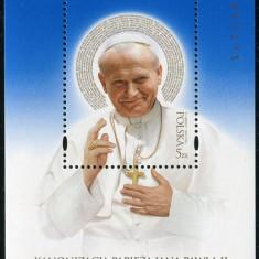 Polonia, canonizare papa Ioan Paul al 2-lea, bloc fond albastru, 2014, MNH