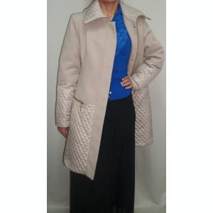 Palton elegant, bej, in fata cu fermoar ascuns