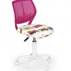 Scaun de birou pentru copii tapitat cu stofa Binta Roz, l40xA43xH75-87 cm