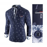 Camasa pentru barbati bleumarin slim fit casual Leon Special