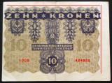 Bancnota ISTORICA 10 COROANE - AUSTRO-UNGARIA , anul 1922 *cod 491- EROARE TIPAR