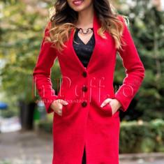 Palton elegant lana rosie cu blanita, Rosu