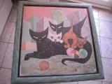 Tablou autor necunoscut - Pisica cu pui, dim. 60x60 cm., deteriorat la colturi