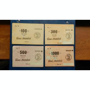 Lot 4 bonuri Casa Scanteii 100 lei, 300 lei, 500 lei, 1000 lei, aUNC-UNC