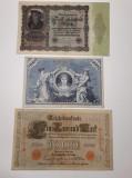 GERMANIA - 100 MARCI 1908 - 1000 MARCI 1910 - 50000 MARCI 1922 - LOT 3 BUCATI