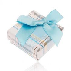 Cutiuță de cadou pentru inel cu model în carouri, fundiță albastru deschis