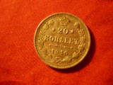 Moneda 20 kopeici 1916 Nicolae II tar Rusia ,cal.XF argint