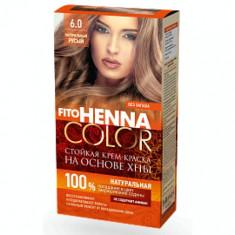 Vopsea de par permanenta fara amoniac FITO Henna Color 6.0 BLOND NATURAL