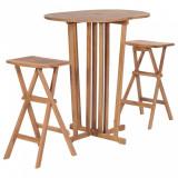 VidaXL Set mobilier de bar pliabil, 3 piese, lemn masiv de tec