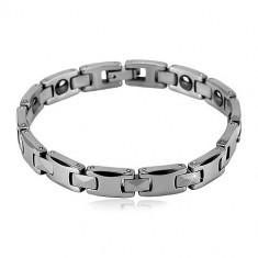 Brăţară magnetică realizată din tungsten,de culoare argintie -dreptunghi lucios si zale în formă de ''H''.
