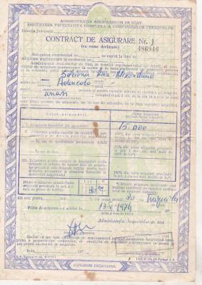 bnk div ADAS - Contract de asigurare - 1974 foto