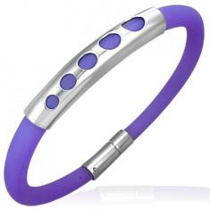 Brățară de cauciuc violet - model sau cinci cercuri mici, role de metal