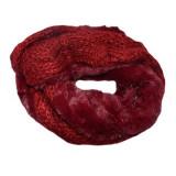 Fular Eve circular din tricot cu insertii de paiete si blanita ,nuanta de marsala