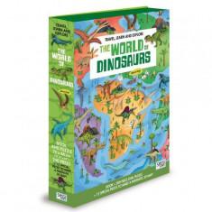 Puzzle 200 piese cu carte - Lumea dinozaurilor