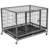 Cușcă de câini rezistentă cu roți, 98 x 77 x 72 cm, oțel