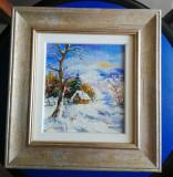 Iarna, miniatură ulei pe pânză, 18,5x19.5 cm