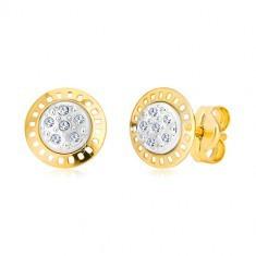 Cercei din aur combinat de 14K - cercuri în două cculori cu zirconii