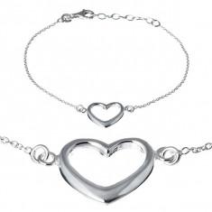 Brățară argint - inimă lată pe lănțișor