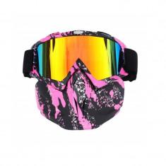 Masca protectie fata, plastic dur+ochelari ski, lentila multicolora, model MDP04