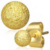 Cercei aurii din oțel, bile cu suprafața sablată, tijă cu șurub