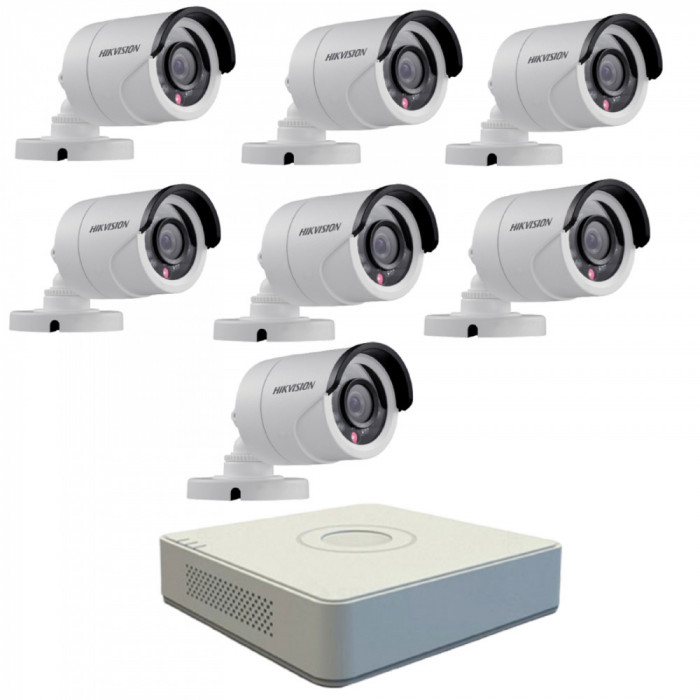 Kit format din 7 camere exterior Hikvision TurboHD DS-2CE16C0T-IRPF, 1 MP, IR 20 m, 2.8 mm + DVR Turbo HD Hikvision 3.0 DS-7108HGHI-F1, 8 canale, 1080