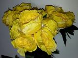Buchet flori artificiale - Ranunculus 6 fire ,galben Coburn, înălțime 30 cm