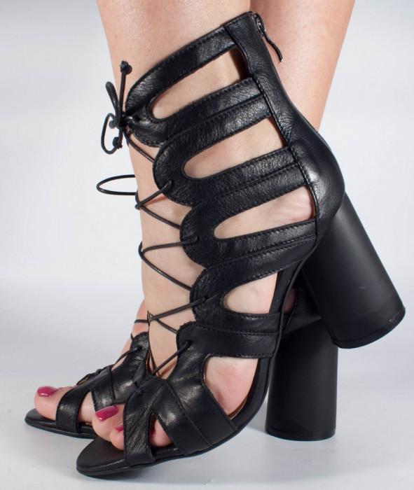 Sandale negre piele naturala (cod 196031)