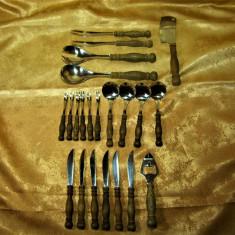 Set Tacamuri Rustice Deluxe, Wmf Burgund, Inox Cromargan, Lemn